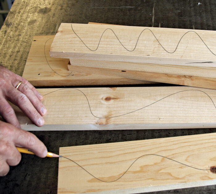 Draw pencil lines on the boards before milling.