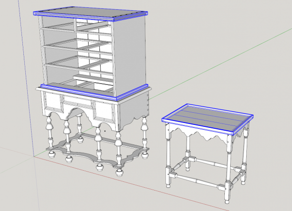 william and mary highboy and tea table with different kinds of miter joints; sketchup model