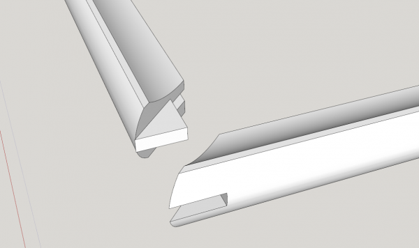 sketchup model detail of bridle joint miter joint