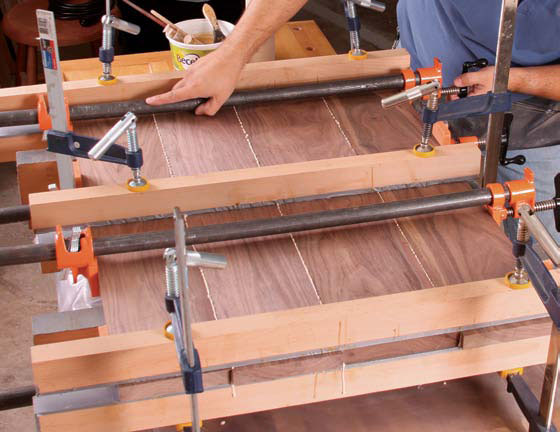Finally Ly The Edge Clamps To Draw Boards Together While Cauls Keep Tabletop From Bowing