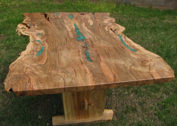 Live Edge Ambrosia Maple Dining Trestle Table by Haymore Enterprises on CustomMade.com