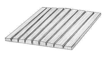 Twice-tapered staves