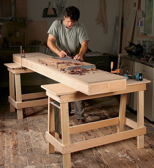 Plans for sawhorse style workbench; alternative woodworking benches; simple, portable, small, removable workbench