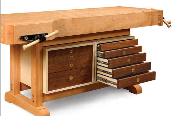 Plans for woodworking workbench tool storage cabinet